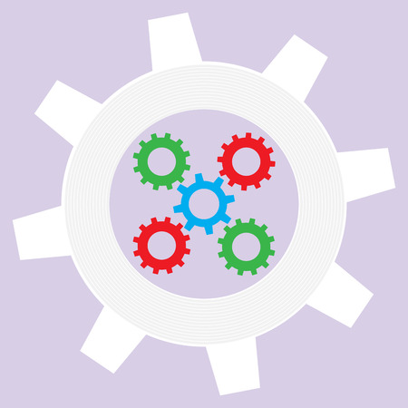 pdca: Operation mechanism flat. Industry technical system with cogwheel, work and do business pdca. Vector illustration