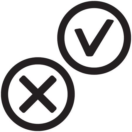 Positive And Negative Mark Color Symbol For Choice Ok Mark