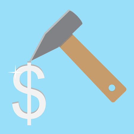 dolar: Make money concept. Silver dolar. Make money and earn money, save money with hammer. Vector illustration
