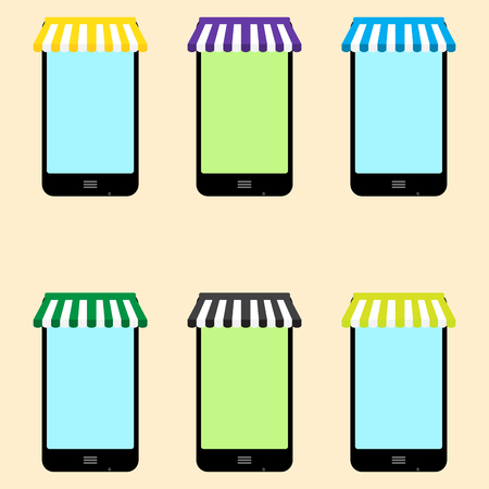 electronics store: Mobile store set vector. Mobile shopping and electronics store, phone store and illustration mobile phone store Illustration