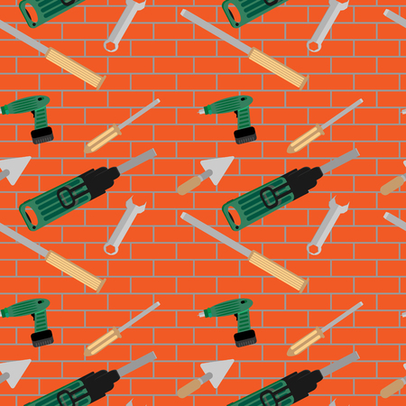 punch: Seamless pattern with hand tools. Repair with screwdriver and punch, wall brick pattern, vector illustration