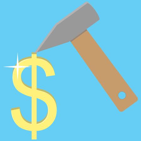 dolar: dolar dorado. Haga el concepto del dinero. financiaci�n de las empresas y los ingresos �xito. ilustraci�n vectorial