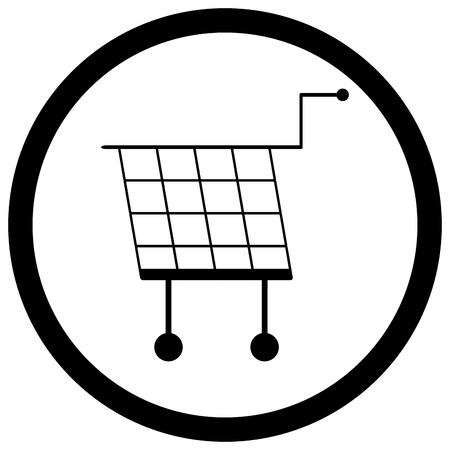 bogey: Shopping basket icon monochrome vector. Shopping cart and illustration shopping trolley