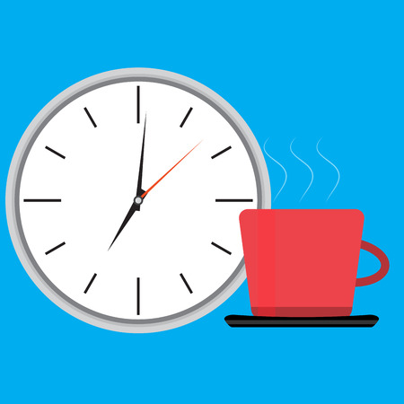 wake: Wake up clock and cup of coffee. Wake up happy, morning waking up, get up vector illustration