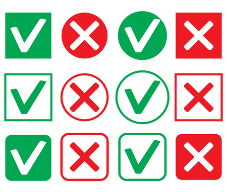 denial: Set of icon consent and denial. Ok icon mark illustration and check correct vector
