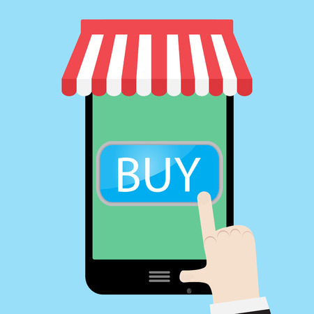 using smartphone: Buy using a smartphone. Buy now button and order now, sale and buy button. Vector illustration Illustration