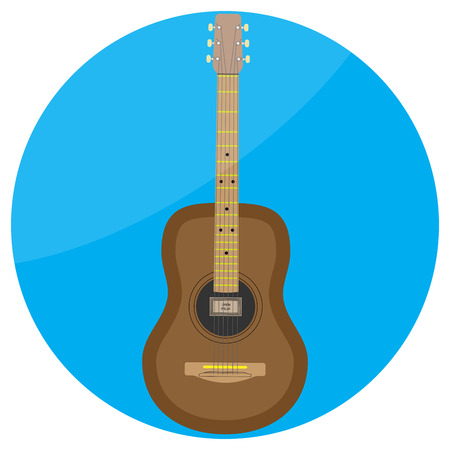 classical guitar: Flat icon acoustic guitar vector. Acoustic guitar isolated, classical guitar illustration Illustration