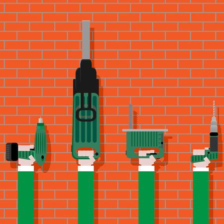 herramientas de trabajo: Las herramientas eléctricas en las manos en la pared de ladrillo. Trabajos de construcción y equipos de instrumentación, ilustración vectorial
