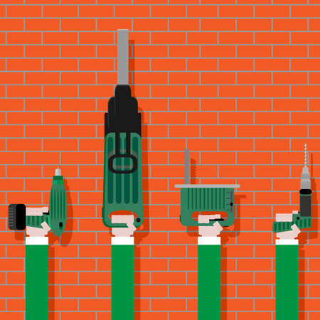 work tools: Power tools in hands on brick wall. Work construction and equipment instrument, vector illustration
