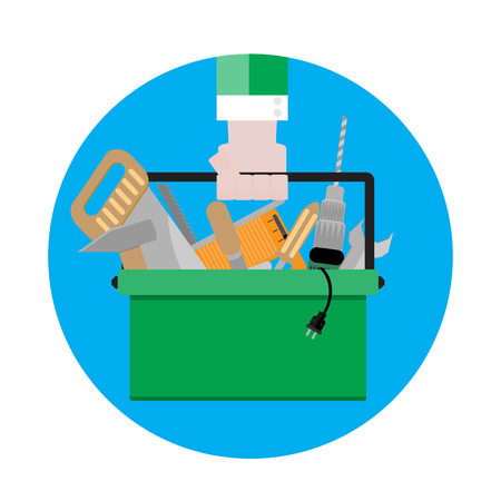 tool kit: Tool box icon vector. Toolbox with instrument, illustration tool kit sign flat design
