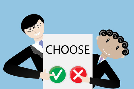 right choice: Make a choice concept. Positive choose or negative choose, democracy right, vector illustration