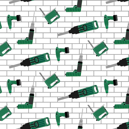 power tools: Power tools vector pattern seamless. Background pattern with power tools. Illustration seamless pattern brick wall