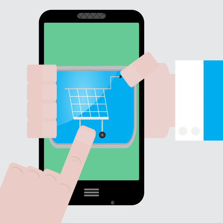 purchase order: Make purchases apps from your phone. Buy icon and purchase order, vector shopping icon or illustration order icon Illustration