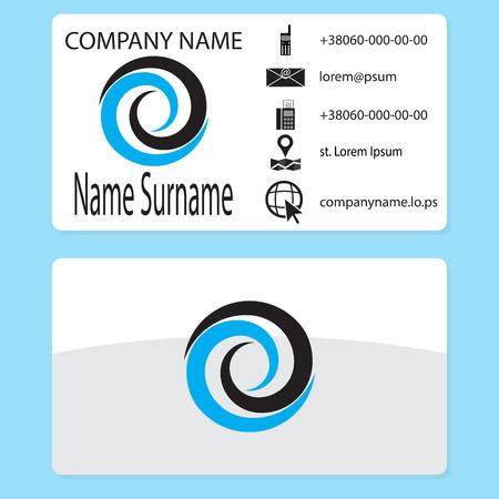 water vortex: Business card with logo whirlpool branding. Business card template with water whirlpool, vector vortex and swirl, whirlwind logotype illustration Illustration