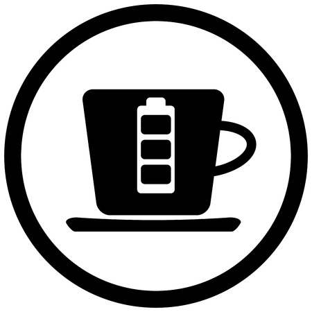 energy drink: Coffee battery black icon. Coffee cup energy drink. Vector illustration Illustration
