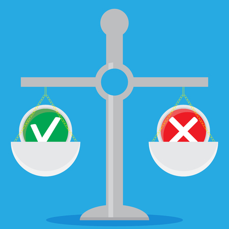 Weigh solutions. Scales and choice. Solution concept and vector business solutions illustration Illustration