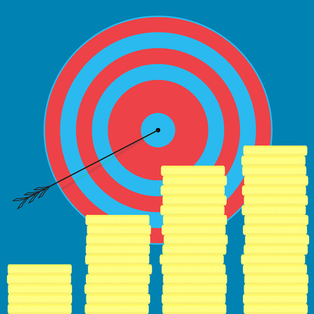 Achieving the goal, money and wealth. Achievement and success target, goal setting and business success, vector illustration