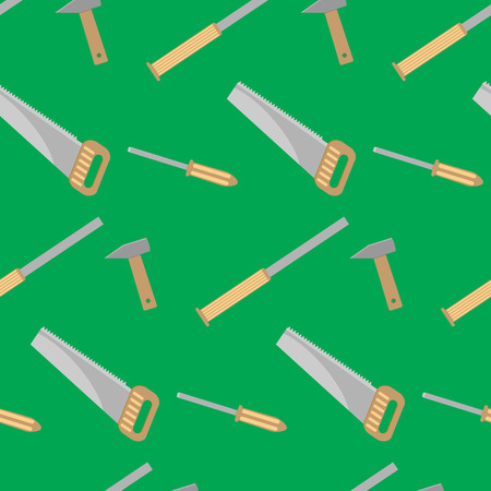 chisel: Tools for carpentry seamless pattern. Chisel and hammer, saw equipment, vector illustration