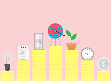 goal setting: Steps to achieve the goal. Achievement and success, goal setting, business success, vector illustration