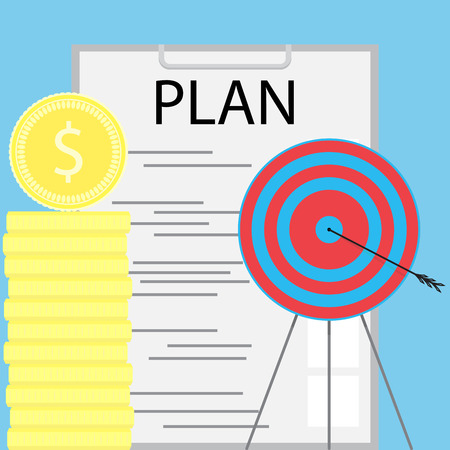 achieving: Successful money planning. Finance planning and achieving the goal. Vector illustration Illustration
