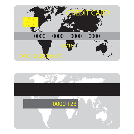 ico: Credit card with silhouette world map. Credit card ico for shopping with money, vector illustration