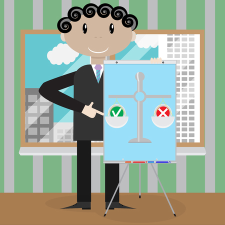 con man: Weigh and make choices. Options and decision, vector choice concept, illustration of decision making Illustration