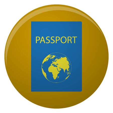 Passport icon illustration in flat style round icon with long passport icon with golden world map passport for travel and identity person legal document gumiabroncs Gallery