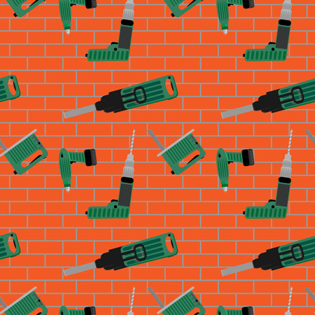 power tools: Power tools on brick wall pattern. Seamless background with construction tools. Vector illustration Illustration