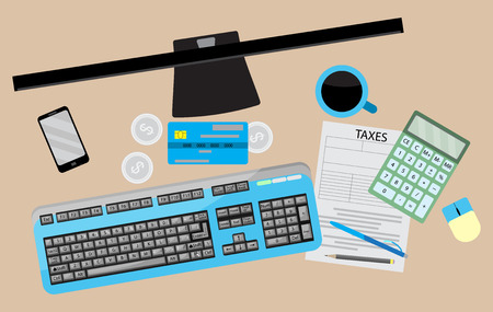 tax accountant: Counting taxes. Accountant workplace with money and tax form, calculator and credit card. Vector illustration