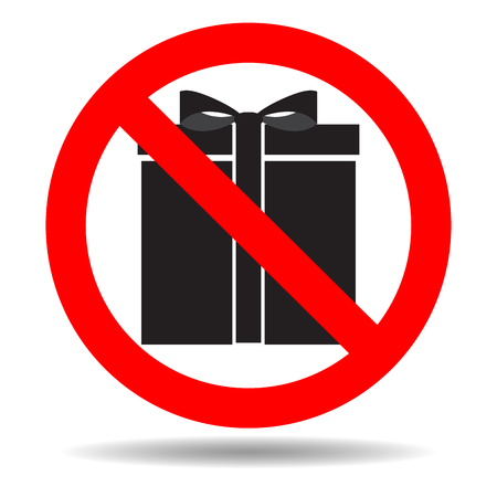Ban gift icon. Prohibited and banned surprise, vector illustration