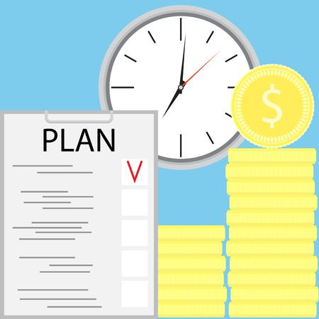 ganancias: La planificación de ganar dinero. Ganar dinero y potencial de ingresos, ilustración vectorial