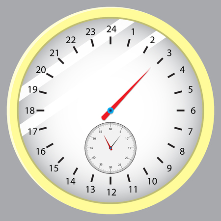 timepiece: Dial hours, minutes and seconds. Time and watch, clock vector with clock face, stopwatch and timepiece illustration Illustration