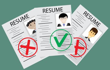 Genehmigt Kandidat Lebenslauf. Kandidatenauswahl für gute Arbeit. Vektor-Illustration Vektorgrafik