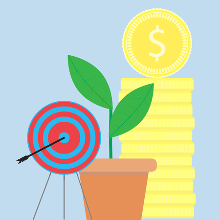 business metaphor: Successful startup illustration flat. Startup business metaphor, vector stock gold coins Illustration