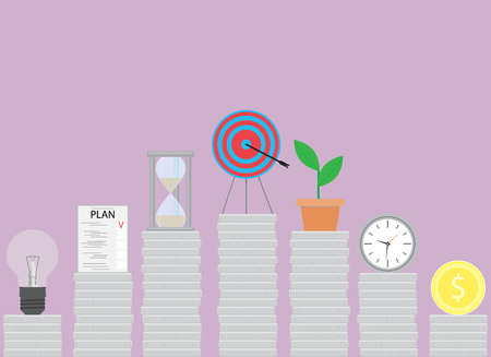 effort: Successful steps in business. Effort to achieve the goal, startup increase, vector illustration Illustration
