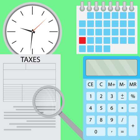 taxation: Tax flat design. Accounting money and taxation, calculator and finance. Vector illustration