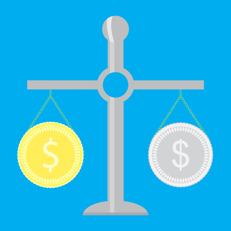 Gold and silver coin on scale. Money currency concept, wealth finance, vector illustration