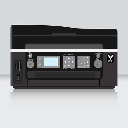 computer printer: Copier and computer printer flat. Printing and office printer. Printer paper isolated on table. Vector illustration Illustration