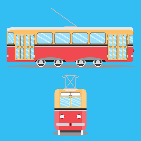 tramway: Retro tram flat. Train on tramway, metro and old tram, tram isolated on blue background Illustration