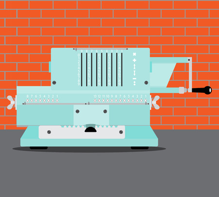 adding: Adding machine flat. Calculator and accounting, cash register and bookkeeping. Vector illustration
