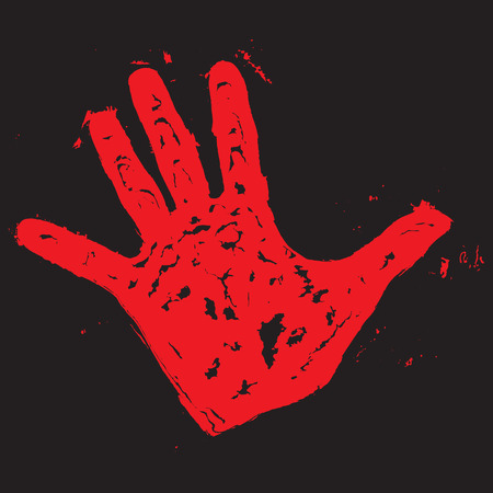 Red hand print. Hand print paint, blood trace, vector illustration Illustration