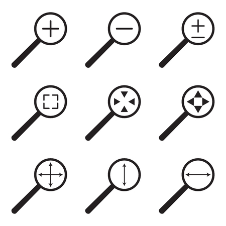 enlarge: Magnifying glass web icon set. Magnifying glass icon, enlarge and reduce, zoom with width and height, vector illustration Illustration