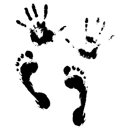 Imprint of hands and feet. Stamp printing, footprint and foot imprint, hand print, vector illustration