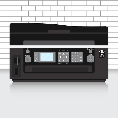 multifunction printer: Multifunction printer in modern office with brick wall. Office printer, copier and scanner. Vector illustration
