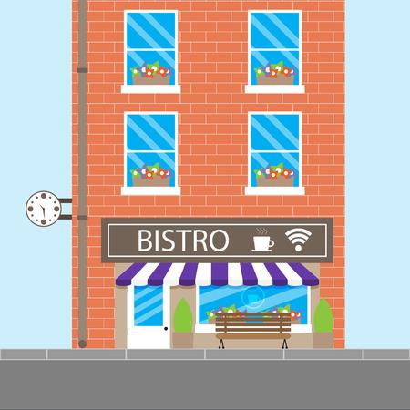 bistro cafe: Bistro building cafeteria. Cafe or restaurant, bistro cafe, coffee shop, vector illustration