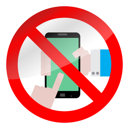 illegal zone: Ban use smarphone device. No phone zone sign prohibition. Vector illustration