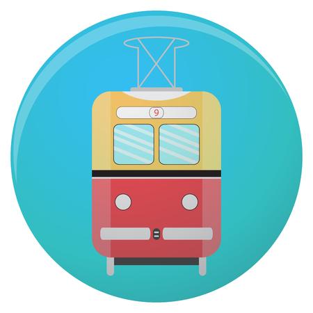 Icon retro tram. Train and metro symbol, old tram icon. Vector flat illustration