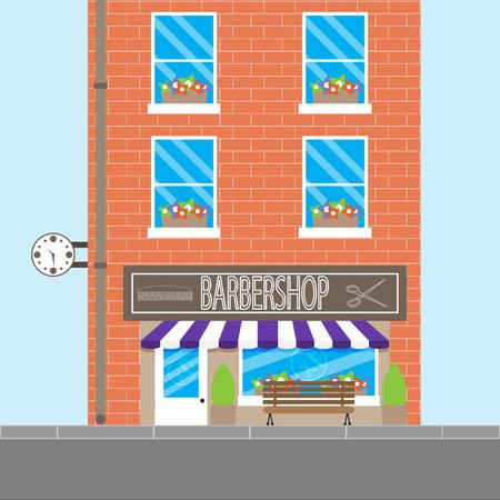 barbershop: Barbershop design building. Barber shop and hair salon, vintage barbershop, vector illustration Illustration