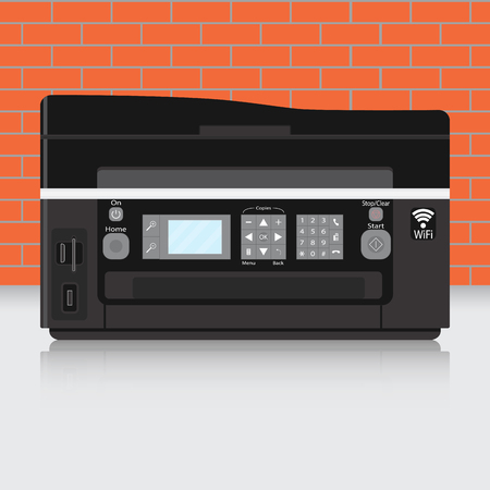 xerox: Office copier vector. Printer paper and office equipment supplies illustration