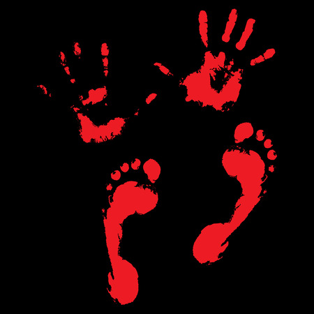bloody hand print: Bloody handprints and feet. Blood splatter and bloody hand print, vector illustration